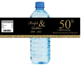 Black and Gold Glitter 50th Anniversary Water Bottle Labels Customizeable labels 50 Gold Golden anniversary