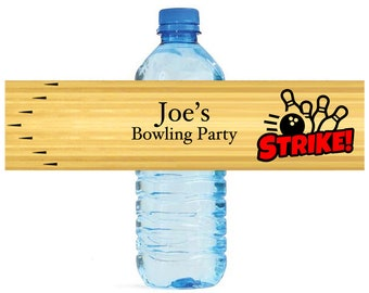 Bowling Party Water Bottle Labels Great for Birthday Parties Kids partys kids parties Events tournaments  Easy to use self stick labels