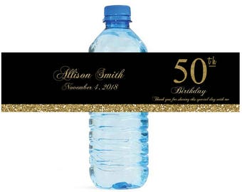 50th Birthday Party Water Bottle Labels Great for Celebrations Golden Birthday