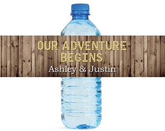 Rustic Wood Marquee Letters Our Adventure Begins Wedding Anniversary Engagment Party Water Bottle Labels Customizeable self stick labels