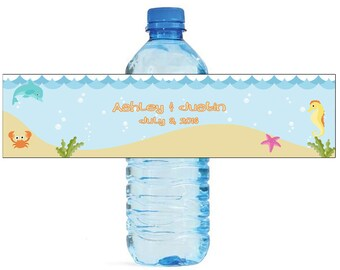 Beach Nautical Seahorse starfish crab seaweed Wedding Anniversary Water Bottle Labels Customizeable labels