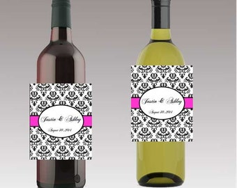 Damask Pink Wedding Wine or Beer Bottle Labels Great for Engagement Bridal Shower Party