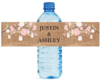 Burlap and Pink Flowers, Mason Jars Hanging from Tree Wedding Anniversary Water Bottle Labels Customizeable labels
