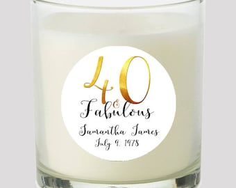 "40 and Fabulous 2"" Favor labels Great for personalizing your events Candles, cupcake toppers Mason Jar decals, Stickers"