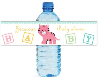 Baby Girl Tiger Baby Shower Theme Water Bottle Labels Perfect for your Celebration and events with an animal circus theme