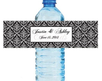 Damask Wedding Anniversary Water Bottle Labels Great for Engagement Bridal Shower Party