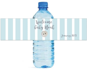 Baby Blue Stripes with White Button Water Bottle Labels Great for Baby Showers New born baby celebrations easy to use self stick