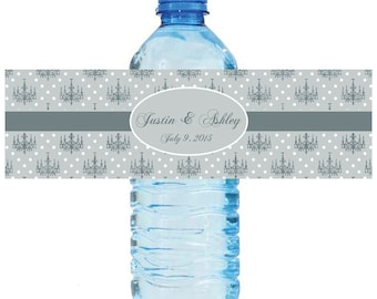 Chandalier Theme  Wedding Water Bottle Labels Great for Engagement Bridal Shower Party 2 sizes Baroque Damask Grey