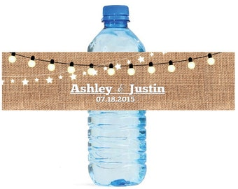 Burlap and Market Lights Wedding Water Bottle Labels Great for Engagement Bridal Shower Party 2 sizes available