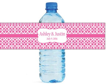 Pink Moroccan Trellis pattern Wedding Anniversary Water Bottle Labels Customizable labels 2 sizes available