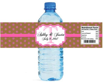 Kraft paper and pink glitter dots Monogram Wedding Water Bottle Labels Great for Engagement Bridal Shower Anniversary Party self stick