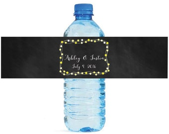 Chalkboard and String Light frame Wedding Water Bottle Labels Great for Engagement Bridal Shower Party Easy to use self stick label