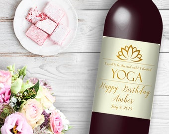 I Used to be Stressed Until I started Yoga Wine / Beer Bottle Labels Great for Birthday Party Yogi party easy to use labels