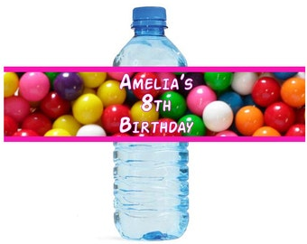 Gumballs Kids Candy Fun Birthday party Water Bottle Labels Celebrations 2 Sizes available