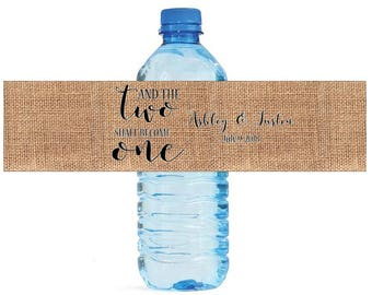 And the Two Shall Become One on Burlap Wedding Engagement Party Water Bottle Labels Customizeable labels Black and White