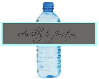 Turquoise and Grey Wedding Anniversary Water Bottle Labels Customizable labels Self stick, easy to use festive labels