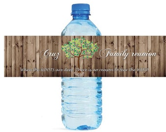 Family Reunion Family Tree Water Bottle Labels Great for get togethers, picnics barbeque BBQ Partys at the house or park, self stick