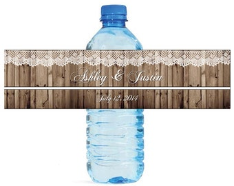 Rustic Wood and Lace Wedding Anniversary Water Bottle Labels Customizable labels 2 sizes available