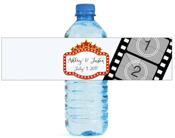 "Movie Sign Wedding Anniversary Shower Water Bottle Labels Great for Engagement Party 8""x2"" Birthday Celebrations School Play"