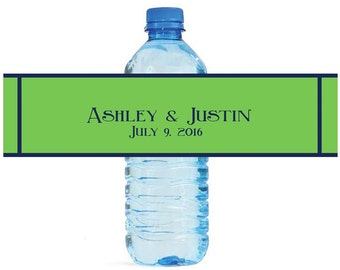 Spring Green and Navy Blue Wedding Water Bottle Labels Great for Engagement Bridal Shower Party
