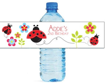Ladybug Theme Water Bottle Labels Celebrations Birthday Party, Kids party, baby shower