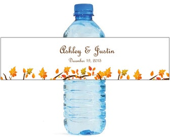 Fall Leaves Wedding Anniversary Engagment Party or any Autumn Event Water Bottle Labels Customizeable self stick labels