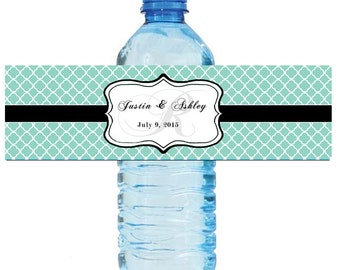 "Lucite Green Monogram Water Bottle Labels Great for Engagement Bridal Shower Wedding Party 7""x2"""