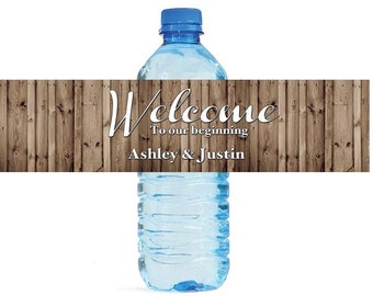 Rustic wood Welcome to our beginning Wedding Water Bottle Labels Great for Engagement Bridal Shower Party
