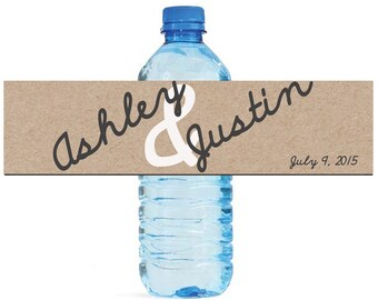 Kraft paper Background with script writing Wedding Anniversary Water Bottle Labels Customizable labels 2 sizes available