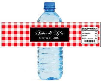Red Gingham Black Box Wedding Water Bottle Labels Great for Engagement Bridal Shower Party Picnic Easy to use, self stick labels