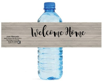 Rustic Wood Welcome Home Water Bottle Labels Great for Open Houses Real estate Agents Welcoming committee