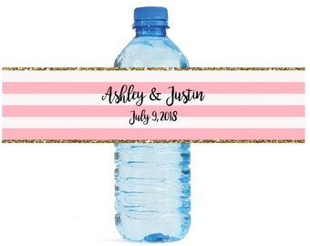 Pink & White Stripes with Gold border bridal shower Wedding Anniversary Water Bottle Labels Customizeable labels easy to use