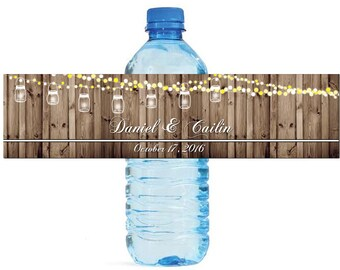 Rustic Wood Market lights and hanging Mason Jars Wedding Anniversary Water Bottle Labels Customizeable labels Easy to use self stick labels