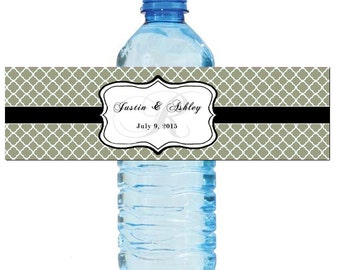Sage Monogram Water Bottle Labels Great for Engagement Bridal Shower Wedding Anniversary Birthday Party 2 sizes available