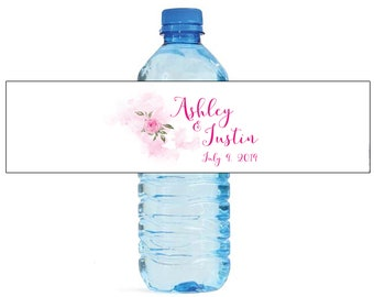 Single Rose Watercolor Pink bridal shower Wedding Anniversary Water Bottle Labels Customizeable labels Easy to use self stick labels
