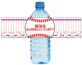 Baseball Party labels Great for kids Birthday party Water Bottle Labels Celebrations Tournaments World Series Little league softball team