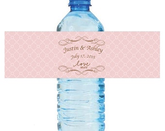 "Love Story Pink Wedding Anniversary Engagement party Water Bottle Labels 8""x2"" labels"