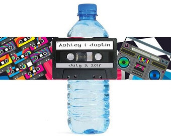 Cassette Tape Water Bottle Labels Great for Weddings, Birthdays, 80s parties, Engagement Bridal Shower Party