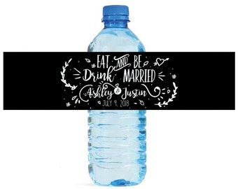 Modern Black Background Eat Drink & Be Married Contemporary Wedding Water Bottle Labels Great for Engagement Bridal Shower party label