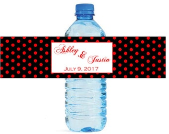 black and red polka dots Wedding Water Bottle Labels Great for Engagement Bridal Shower Birthday Party Easy to use self stick
