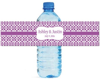 Purple Moroccan Trellis pattern Wedding Anniversary Water Bottle Labels Customizable labels 2 sizes available