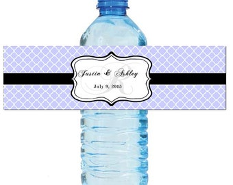 Periwinkle Monogram Water Bottle Labels Great for Engagement Bridal Shower Wedding Anniversary Birthday Party 2 sizes available