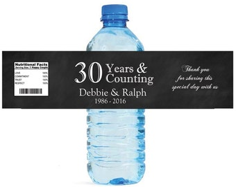 Black Chalkboard 30th Anniversary Water Bottle Labels Customizeable labels 30 years and counting