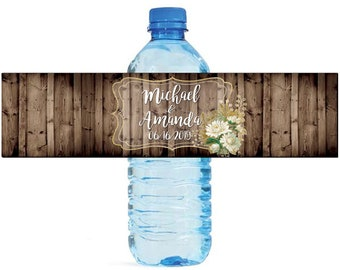 White and Gold floral frame on Rustic Wood Wedding Water Bottle Labels Great for Engagement Bridal Shower Birthday Party Anniversary