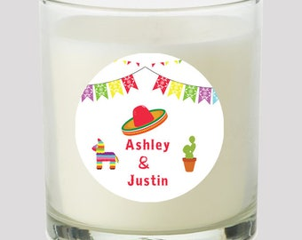 "Mexican Fiesta 2"" Favor labels Great for personalizing events Wedding Bridal Shower Candles Cupcake toppers Mason Jar decals Stickers"