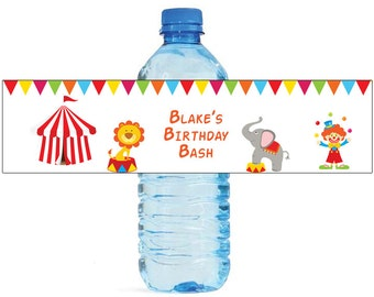 Circus Kids Fun Birthday party Theme Water Bottle Labels Celebrations 2 Sizes available