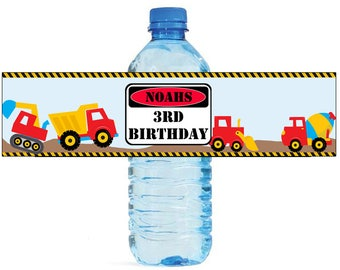 Construction Site Theme Water Bottle Labels Celebrations Birthday Party, Kids party, construction party
