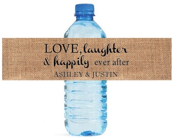 100 Burlap Love Laughter happily ever after Wedding Water Bottle Labels Great for Engagement Bridal Shower Party