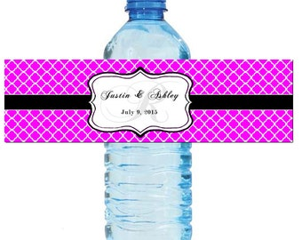 """Fuchsia Monogram Water Bottle Labels Great for Engagement Bridal Shower Wedding Party 7""""x2"""""""