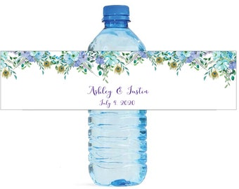 Boho Mint & Blue floral Watercolor Wedding Water Bottle Labels Engagement Bridal Shower Birthday Party self stick Birthday Bridal